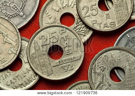 Coins of Spain. Torre del Oro in Seville, Andalusia, Spain depicted in the Spanish 25 peseta coin (1992).