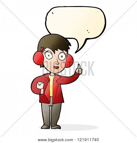 cartoon air force woman with speech bubble