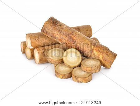 unpeeled Fresh Burdock roots on white background