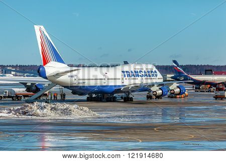 MOSCOW, RUSSIA - MARCH 22, 2012: Boeing 747 of Transaero company at the airport Sheremetyevo