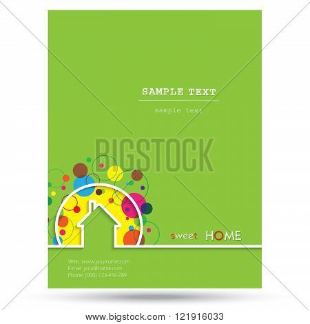 House logo design with place for text. Home Sweet Home Vector Illustration on green background