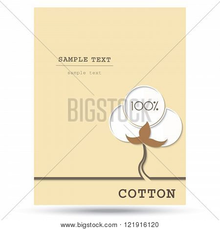 Cotton symbol with place for text. Vector illustration.