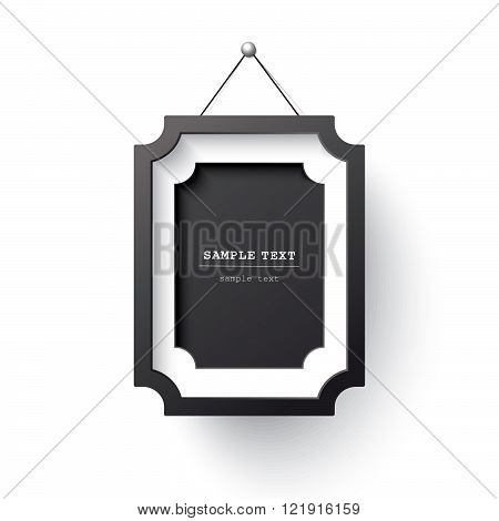 Realistic black frame isolated on white. Vector illustration.