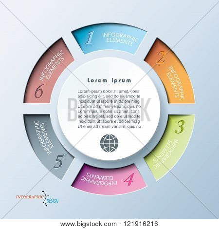 Infographic template for business project or presentation with circle and six segments. Vector illustration can be used for web design, workflow or graphic layout, diagram, education