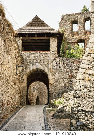 Entrance to the Trencin castle Slovak republic. Architectural theme.