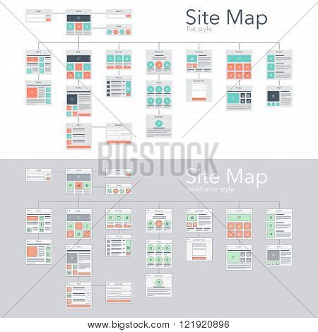 Flat and wireframe design style vector illustration concept of website flowchart sitemap.