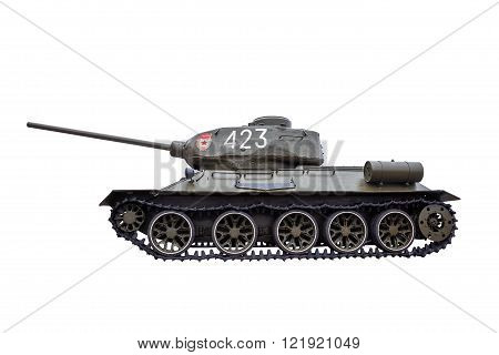Tank T-34 isolated on a white background