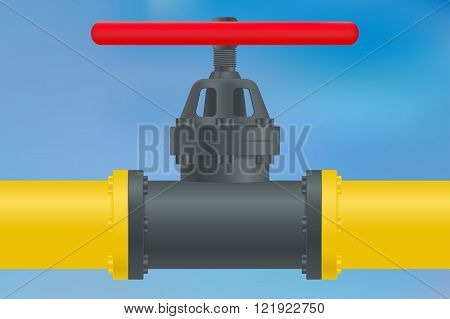 Yellow Gas pipe with flange and valve. Vector illustration