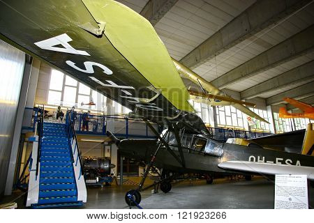 VANTAA FINLAND - JUNE 10 2015: Interior view of The Aviation Museum in Vantaa. The exhibition presents historic military aircraft used by the Finnish Air Force.