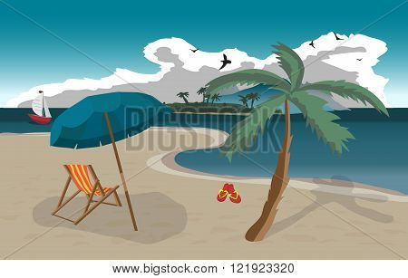 Sea landscape summer beach sun umbrellas beach beds. Umbrellas and deskchair on a beach in summer evening vacation. Evening summer background on beach. Vector flat illustration