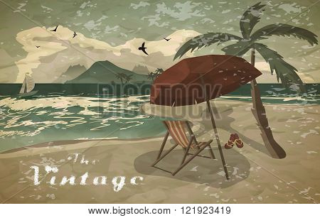 Sea landscape summer beach sun umbrellas beach beds. Umbrellas and deskchair on a beach in summer evening vacation. Evening summer background on beach vintage faded style. Vector flat illustration