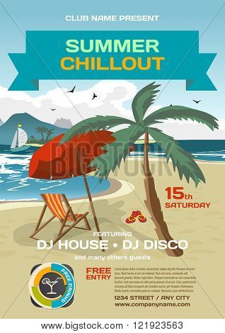 Vector summer party invitation lounge. Umbrella palm tree and lounge on a beach in summer to posters invitations or flyers. Vector template flat summer party poster.