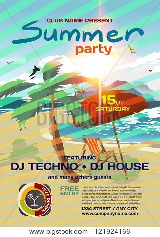Vector summer party invitation techno style. Umbrella palm tree and lounge on a beach in summer to posters invitations or flyers. Vector template flat summer party poster.