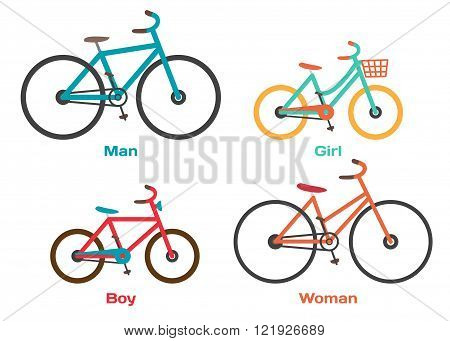 Bicycle Set for family ride. Set riding bikes isolated on white