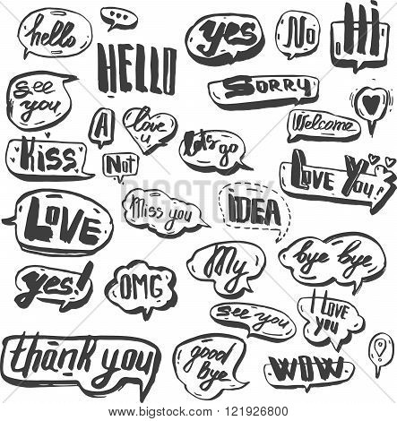 A set of black and retro comic book design elements with speech bubbles. Doodle design with short me