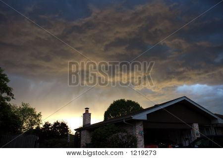 Incoming Storm At Sunset