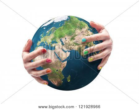Earth globe being embraced by female hands with fingernails polished in multiple colors. Some elements of this image taken from NASA archive