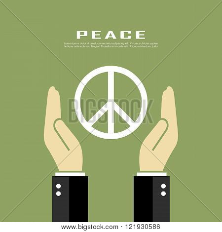 Peace pacifism vector poster on green background