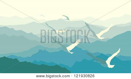 Horizontal illustration morning misty mountains with flock of swans.