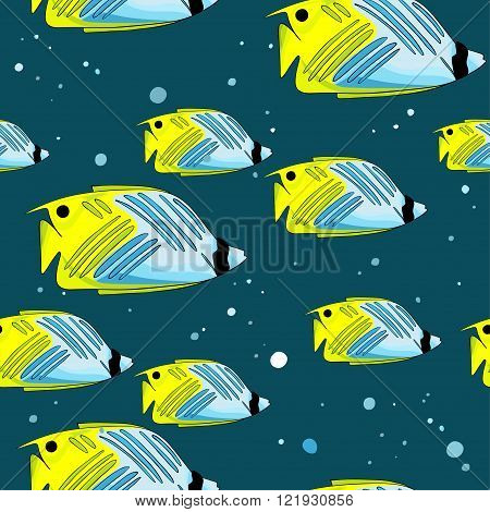 Pattern with bright green-blu fishes and bubbles