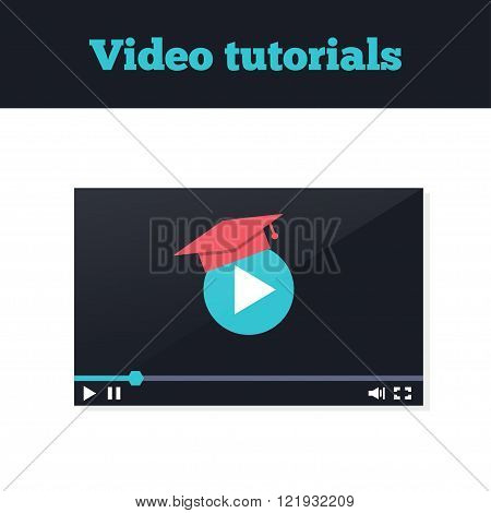 Video tutorials icon concept. Study and learning background distance education and knowledge growth. Video conference and webinar icon internet and video services. Vector illustration in flat style. Video player