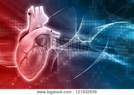 3D render of a medical background with a heart