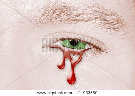 Blood Crying eye of green color and pale zombie skin