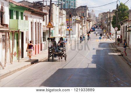 MATANZAS CUBA - February 5 2008. One of streets in colonial town of Matanzas Cuba.