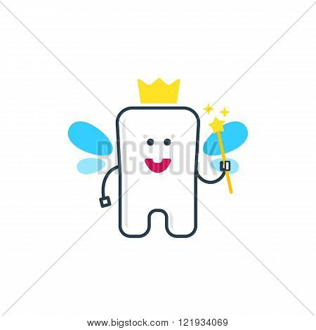 Cute tooth fairy with wings
