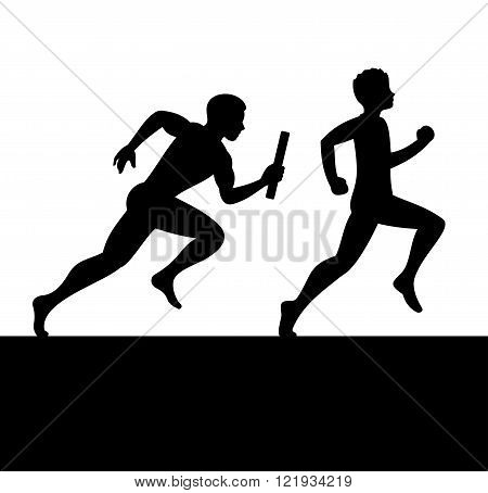 Relay with Two People Passing Baton. Vector