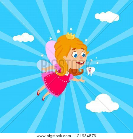 Tooth Fairy flying at sky