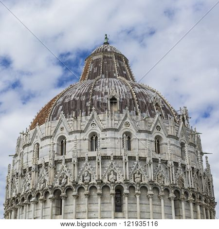 View of Leaning tower and the Basilica Piazza dei miracoli Pisa Italy
