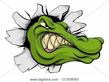 Crocodile Or Alligator Head Breaking Through Wall