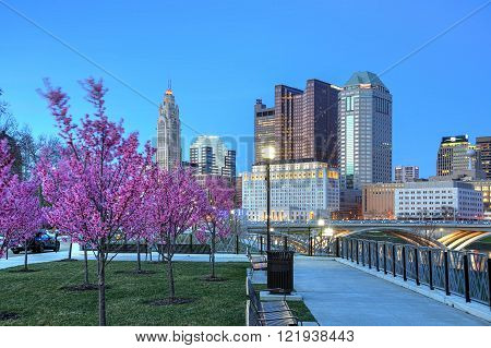 Red buds in bloom along the Scioto River and Columbus Ohio skyline at John W. Galbreath Bicentennial Park at dusk ** Note: Visible grain at 100%, best at smaller sizes