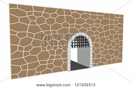 isolated medieval gate vector illustration