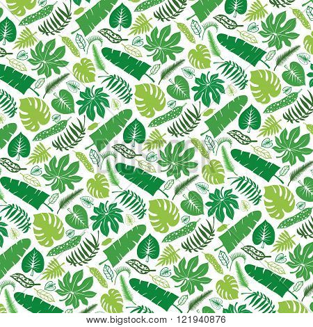 Tropical leaves,branches pattern backdrop.Green