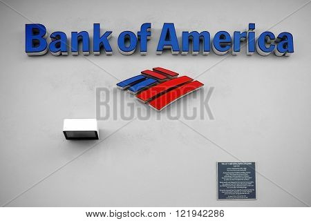 PALM SPRINGS, UNITED STATES - DECEMBER 24: The facade of the National Bank building of the Bank of America with signs and logo on December 24 2015 in Palm Springs.