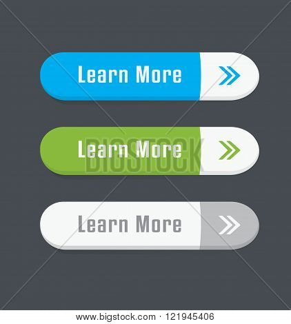 Set of Learn More vector oval Buttons.
