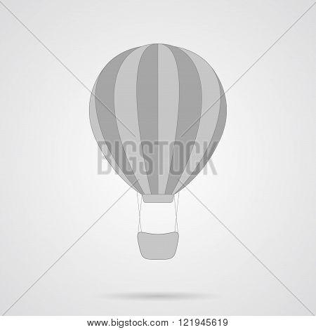 Vector Gray Hot Air Balloon Flat Icon