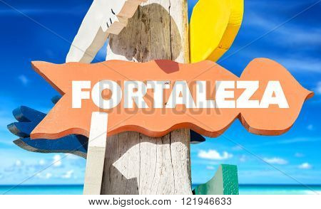 Fortaleza signpost with beach background