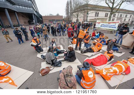 STRASBOURG FRANCE - MAR 15 2016: Confederation francaise democratique du travail die in protests against Bas-Rhin Alsace departmental budget cuts for 2016 requesting no cuts and wage increase