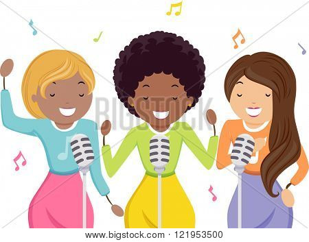 Stickman Illustration of Girls in Vintage Clothing Working as Backup Singers