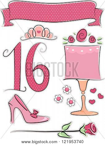 Illustration of Items Usually Associated with Sweet Sixteen Parties