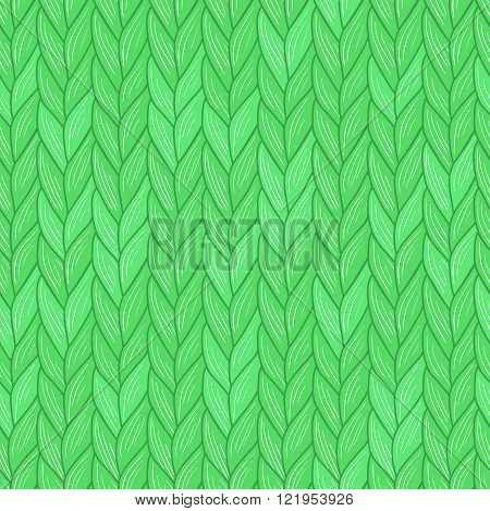 Green knitted seamless pattern. Natural warm knitted fabric. Eps, added to swatches.