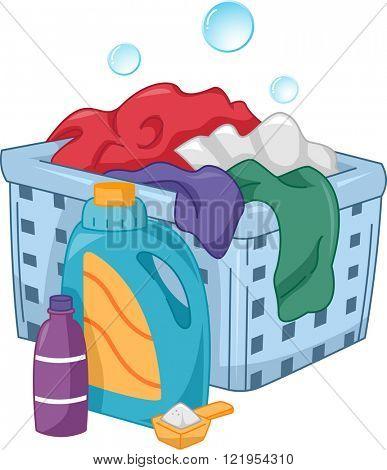 Illustration of Bottles of Laundry Detergent Sitting Beside a Laundry Hamper