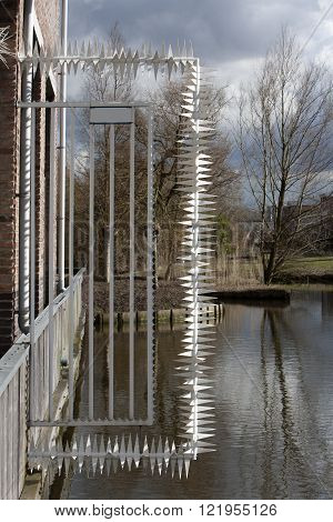 Spiked security fence against burglars in the Netherlands