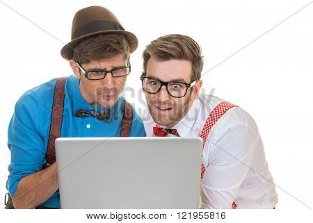 humour business men looking at laptop computer