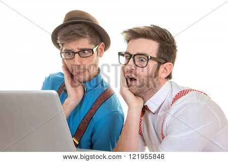 quirky IT nerds looking at laptop computer poster