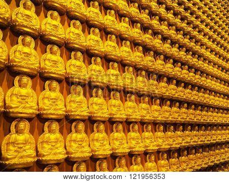 Rows Of Golden Buddha Statues At Barom Racha Kajanapisek Anusorn Temple (Wat Leng Nei Yi 2), Nonthaburi Province, Thailand