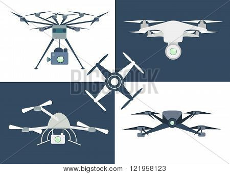 Flying drone flat icons. Set of aerial drone footage icons. Remote aerial drones with a camera. Flat design. Isolated